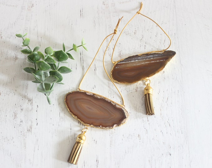 Natural Gold Plated Agate Ornament Set of 2