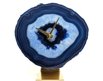 "7.5"" Blue Large Agate Clock"