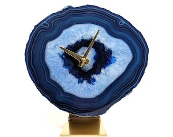 "7.5"" Blue Large Agate Clock"