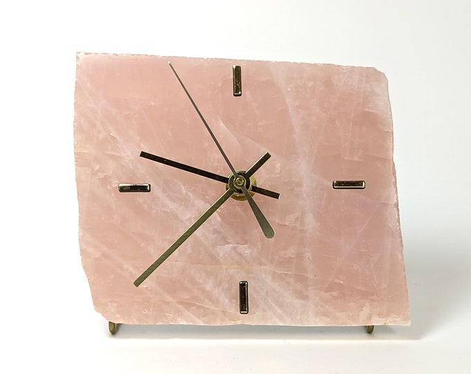 Rose Quartz Slab Desk Clock No 16