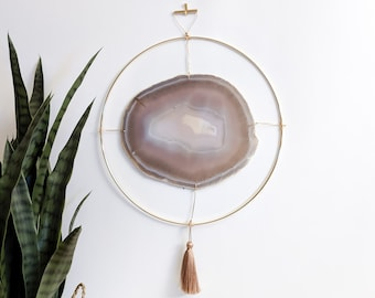 "LeeAnn Design | 12"" Jumbo Natural Agate Slab Wall Hanging"