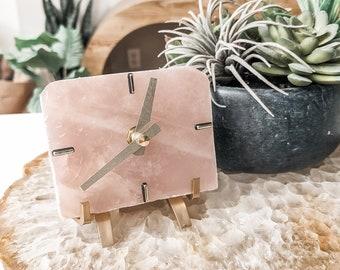 ROSE QUARTZ Desk Clock,Stone Clock,Boho Decor,Rose Quartz Crystal,Geologist Gift,Tiny Home Decor,Tiny Clock,Cutie Clock,Modern Clock