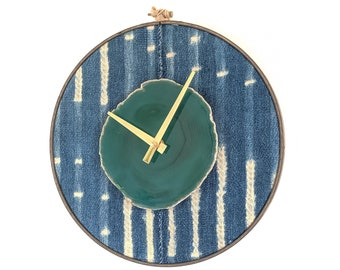 "10"" Green Agate + Indigo Mudcloth Wall Clock"