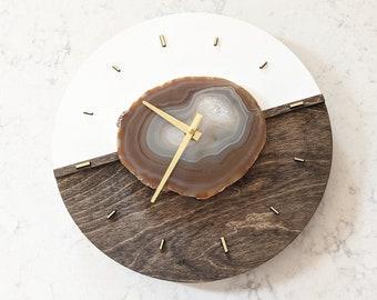 "12"" Agate COLOR BLOCK WALL Clock,Wood Clock,Boho Decor,Boho Wall Decor,Boho Wall Hanging,Indie Office Decor,Rock Collector Gift,Large Clock"