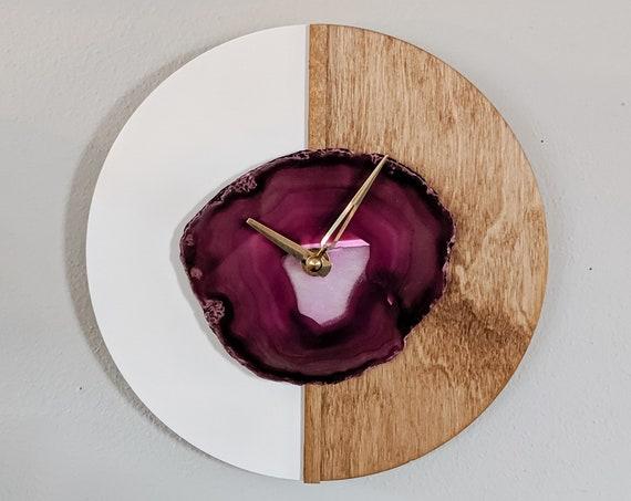 "10"" Pink Agate + Wood Wall Clock | Kismet Design"