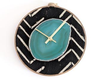 "8"" Green Agate + Black Arrow Mudcloth Textile Wall Clock"