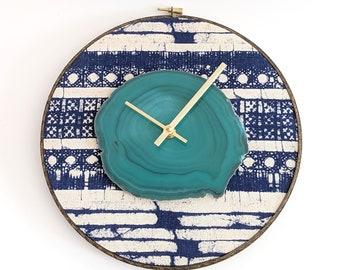 """10"""" Green Agate + Indigo Batik Hmong Textile Wall Clock"""