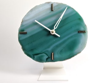 """7"""" Large Green Agate Desk Clock 