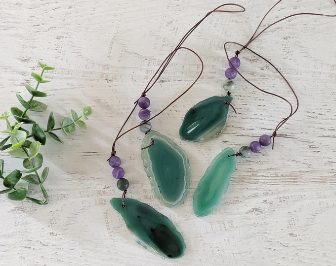 Green Agate Ornament Set of 4