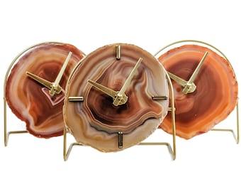 AMBER AGATE CLOCK,Agate Desk Clock,Boho Decor,Rock Enthusiast Gift,Geologist Gift,Modern Boho Clock,Indie Office Decor,Clock Lovers Gift