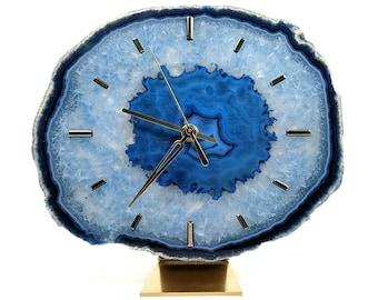 "9"" Blue Agate Desk Clock | Ready To Ship"