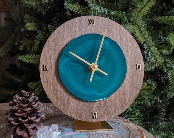 "8"" Teal Agate + Wood Desk Clock"