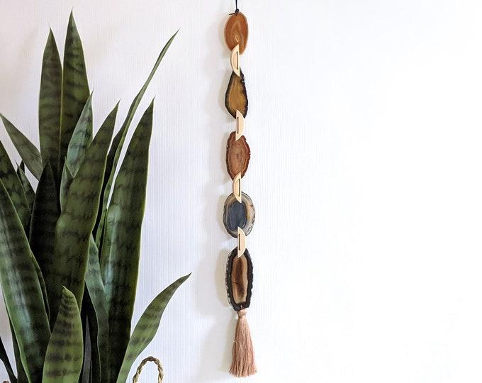Gretchen Design | Natural Ombre Boho Agate Tassel Hanging