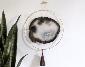 "LeeAnn Design | 11"" Jumbo Gray Agate Slab Wall Hanging"