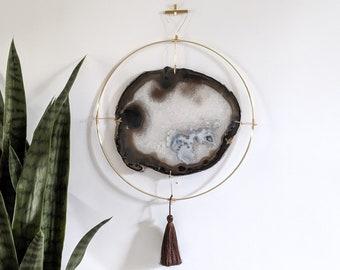 "LeeAnn Design | 11"" Jumbo Gray Agate Slab Wall Hanging"