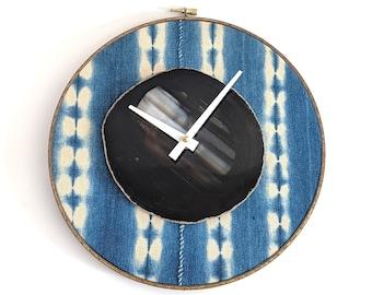 "10"" Black Agate + Indigo Mudcloth Textile Wall Clock"