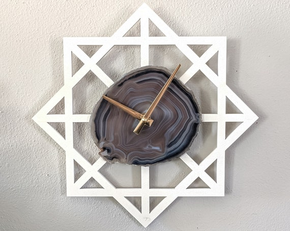 "12"" Gray Agate + Wood Wall Clock | Geometric Design"