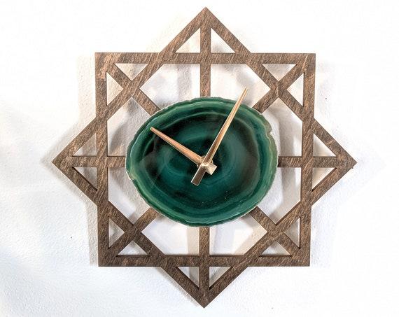 "12"" Green Agate + Wood Wall Clock | Geometric Design"