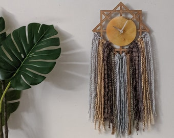 "10"" Yellow Agate Quartz + Fringe Geometric Wall Clock"