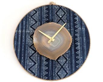 """12"""" Natural Agate + Indigo Hmong Textile Wall Clock"""