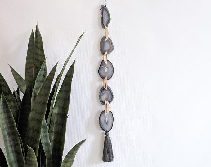 Mira Design | Gray Ombre Boho Agate Tassel Hanging