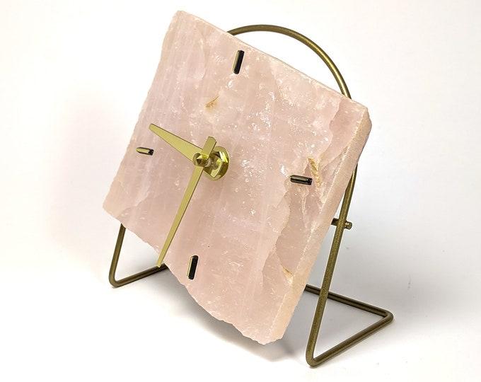 Rose Quartz Slab Desk Clock No 14