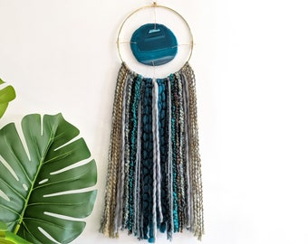 "Juniper Design | 4-1/2"" Teal Agate + Fringe Wall Hanging"