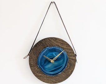 """8"""" Teal Agate + Wood Wall Clock"""