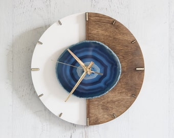 "12"" Kismet Vertical Choose Your Agate + Wood Wall Clock 