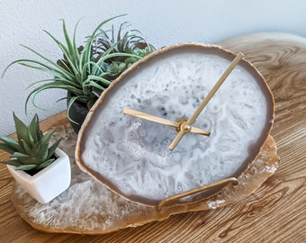 """8"""" NATURAL AGATE CLOCK,Agate Desk/Wall Clock,Boho Decor,Rock Enthusiast,Geologist Gift,Fireplace Mantel Clock,Top Workspace Find/Gift"""