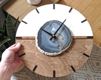 "12"" Gray Agate + Wood Wall Clock 