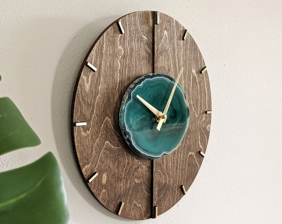 """12"""" Mid Century Choose Your Agate + Wood Wall Clock 
