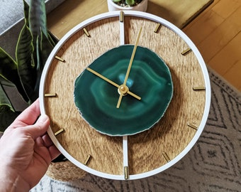 "10"" Green Agate + Layered Wood Wall Clock"