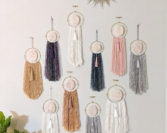 Choose Your Rose Quartz + Fringe Wall Hanging,Boho Wall Decor,Boho Decor,Boho Wall Hanging,Rose Quartz Wall Hanging,Crystal Wall Hanging