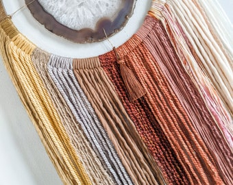 Sunset Ombre AGATE WALL HANGING,Boho Wall Hanging,Boho Decor,Boho Wall Decor,Macrame,Agate Dreamcatcher,Fiber Wall Hanging,Yarn Hanging
