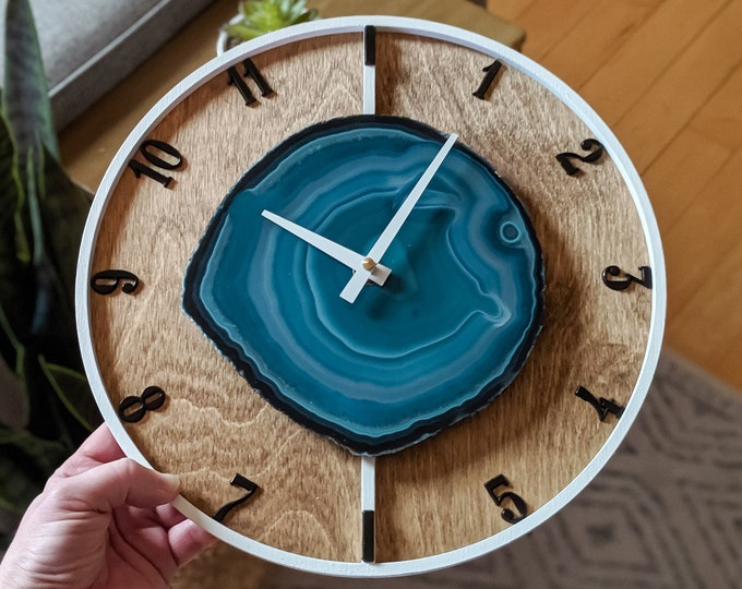 "12"" Teal Agate + Layered Wood Wall Clock"