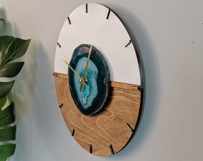 "12"" Kismet Horizontal Choose Your Agate + Wood Wall Clock 