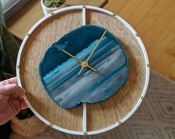 "12"" Teal Agate + Layered Wood Wall Clock"
