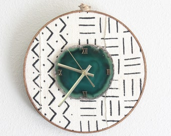 """10"""" Mudcloth Textile Agate Wall Clock 