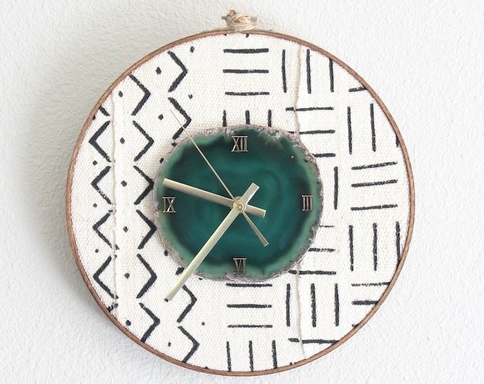 """10"""" Mudcloth Textile Agate Wall Clock   Choose Your Agate"""