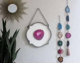 "12"" Pink/Fuchsia Agate + Moroccan Wood Wall Art Hanging No 2"