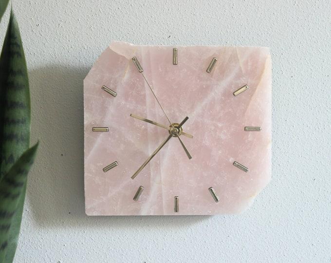 "8"" Rose Quartz Slab Wall Clock"