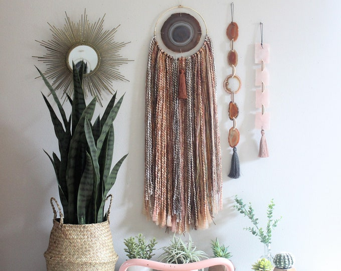 Choose Your Large Agate + Fringe Wall Hanging/Dreamcatcher | Made to Order