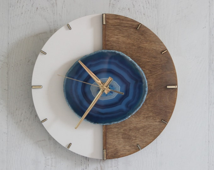 """Kismet Design   10"""" Agate Layered Wood Wall Clock   Choose Your Agate"""
