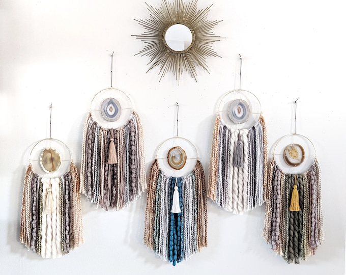 Choose Your Agate + Fringe Wall Hanging/Dreamcatcher | Made to Order