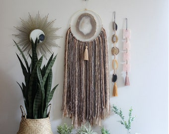 Choose Your JUMBO Agate + Fringe Wall Hanging/Dreamcatcher | Made to Order