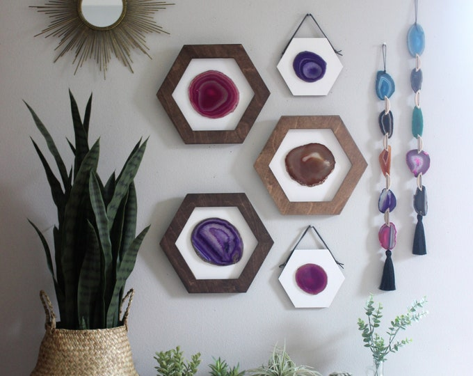 Phoebe Collection   5-Piece Jewel Tone Agate + Hex Wood Wall Art Set