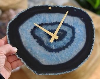 """9.5"""" Blue Agate Slab Wall Clock"""