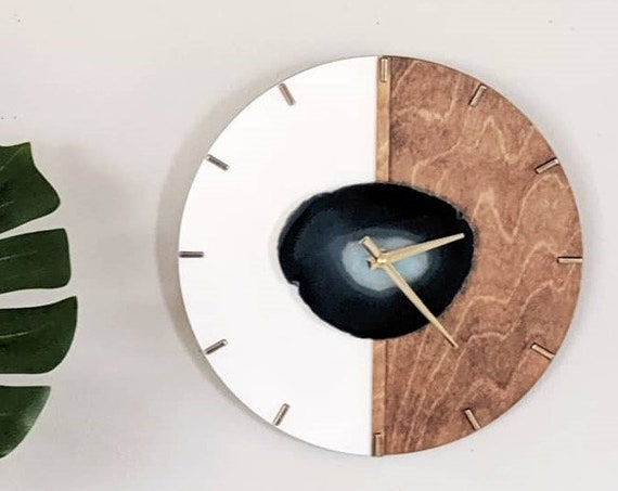 """12"""" Kismet Vertical Choose Your Agate + Wood Wall Clock 