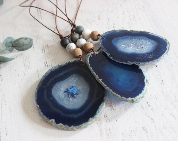 Blue Agate Ornaments No 3 ( Set of 3)